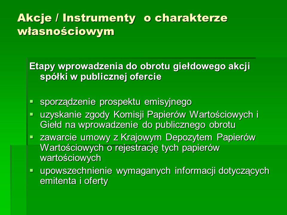 Akcje / Instrumenty o charakterze własnościowym Etapy wprowadzenia do obrotu giełdowego akcji spółki w publicznej ofercie sporządzenie prospektu emisy