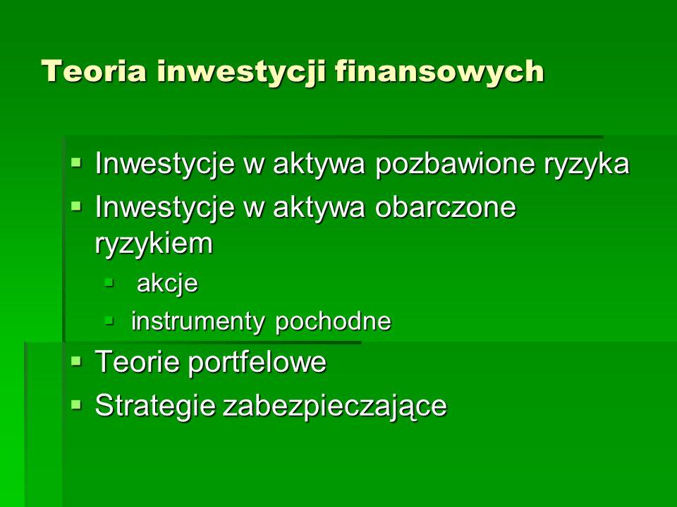 Teoria inwestycji finansowych Inwestycje w aktywa pozbawione ryzyka Inwestycje w aktywa pozbawione ryzyka Inwestycje w aktywa obarczone ryzykiem Inwestycje w aktywa obarczone ryzykiem akcje akcje instrumenty pochodne instrumenty pochodne Teorie portfelowe Teorie portfelowe Strategie zabezpieczające Strategie zabezpieczające