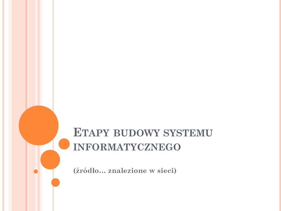 E TAPY BUDOWY SYSTEMU INFORMATYCZNEGO (źródło… znalezione w sieci)
