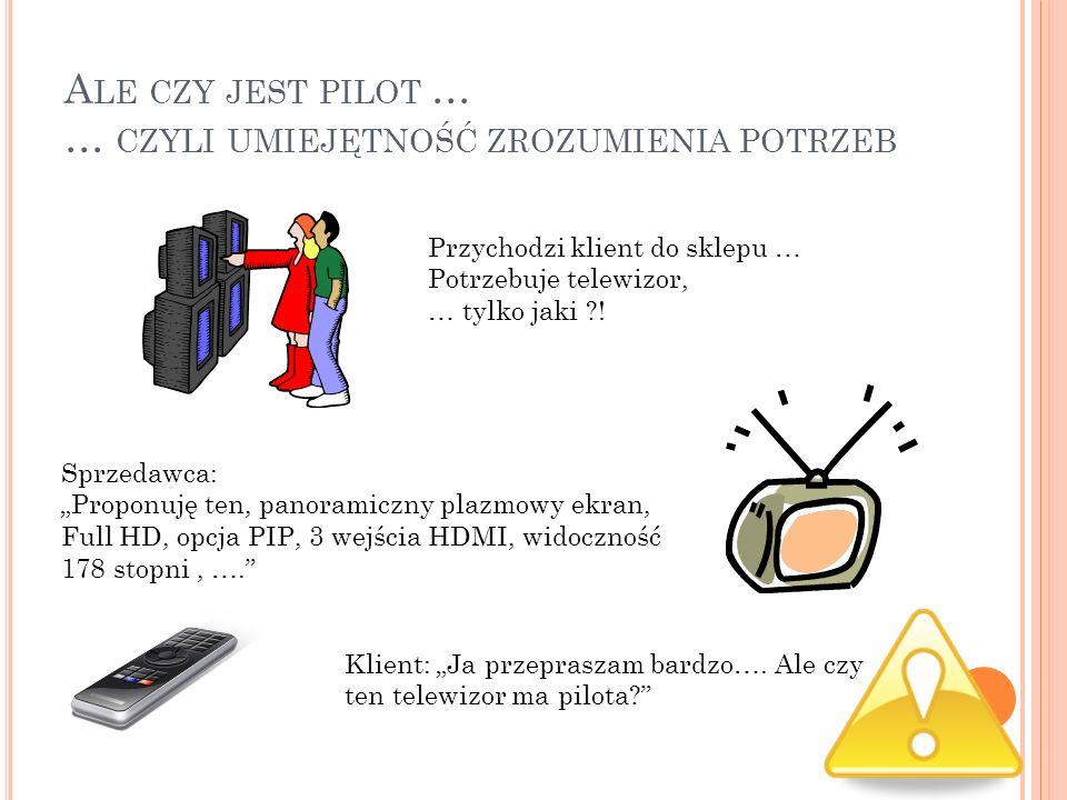 A LE CZY JEST PILOT … … CZYLI UMIEJĘTNOŚĆ ZROZUMIENIA POTRZEB Przychodzi klient do sklepu … Potrzebuje telewizor, … tylko jaki ?! Sprzedawca: Proponuj