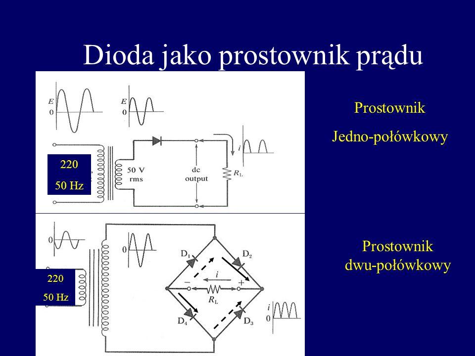 Parametry diod Maksymalny średni prąd przewodzenia I 0 (prąd znamionowy) Szczytowe wsteczne napięcie pracy U R oraz prąd wsteczny I R Napięcie przewod