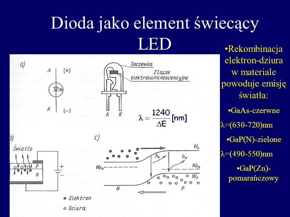 Dioda jako element foto-czuły Elektron dziura Polaryzacja w kierunku zaporowym –obwód zamknięty- przepływ prądu o I od zależnym od natężenia światła O