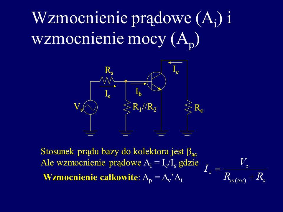 Wzmocnienie całkowite wzmacniacza WE VsVs R 1 //R 2 RsRs R c = R C //R L VbVb V out Wzmocnienie całkowite z pominięciem kond. bocznikującego: C 2 Przy