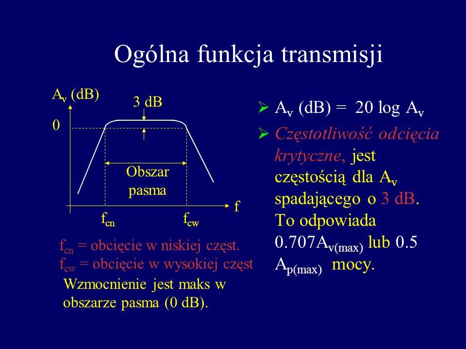 Charakterystyka częstotliwościowa wzmacniaczy Do tej pory zakładaliśmy że impedancja, X C kondensatorów sprzężeń i filtrów była =0. Także pojemności z