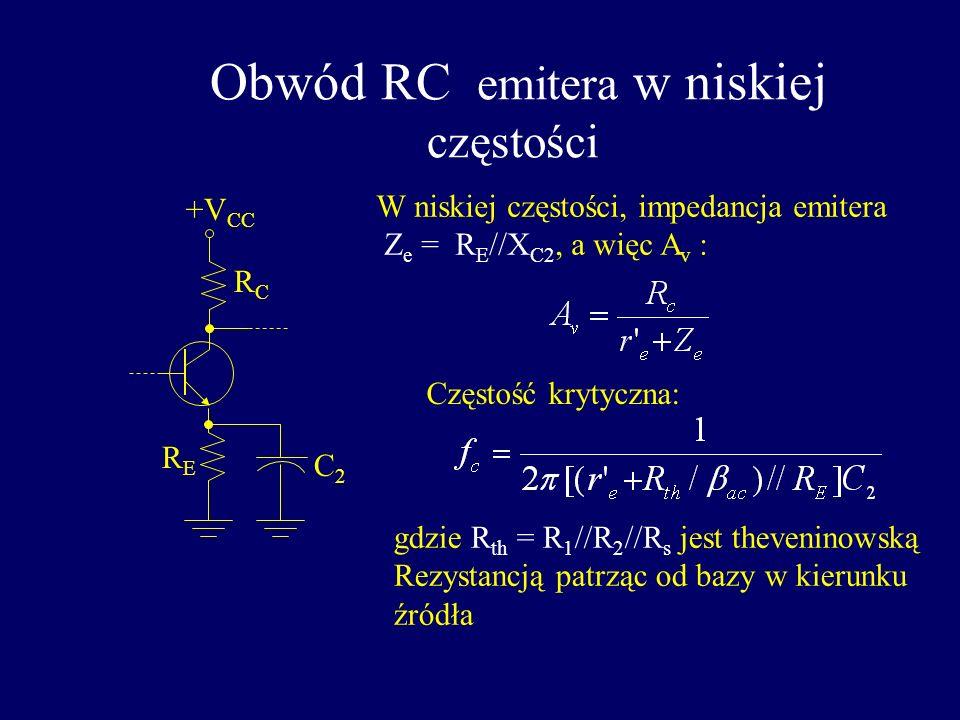 Obwód wyjściowy RC przy niskiej częstości dla WE +V CC C3C3 RLRL Częstość krytyczna obwodu RC : Przesunięcie fazowe: f fcfc 0.1f c A v (dB) -3 -20 obn