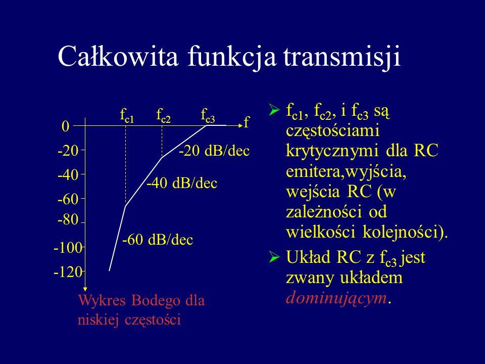 Obwód RC emitera w niskiej częstości C2C2 RERE RCRC +V CC W niskiej częstości, impedancja emitera Z e = R E //X C2, a więc A v : Częstość krytyczna: g