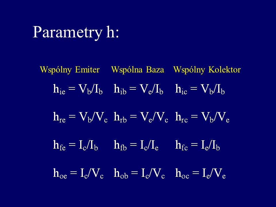 Parametry r Oporności, r, są może bardziej intuicyjne: ac : ac (I c /I e ) ac : ac beta (I c /I b ) r e : ac oporność emitera r b : ac oporność bazy r