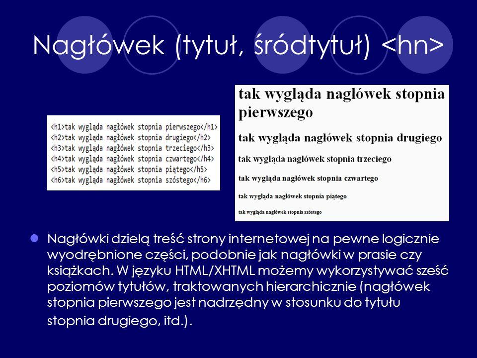 Nagłówek (tytuł, śródtytuł) Nagłówki dzielą treść strony internetowej na pewne logicznie wyodrębnione części, podobnie jak nagłówki w prasie czy książ