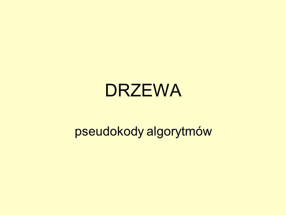 DRZEWA pseudokody algorytmów