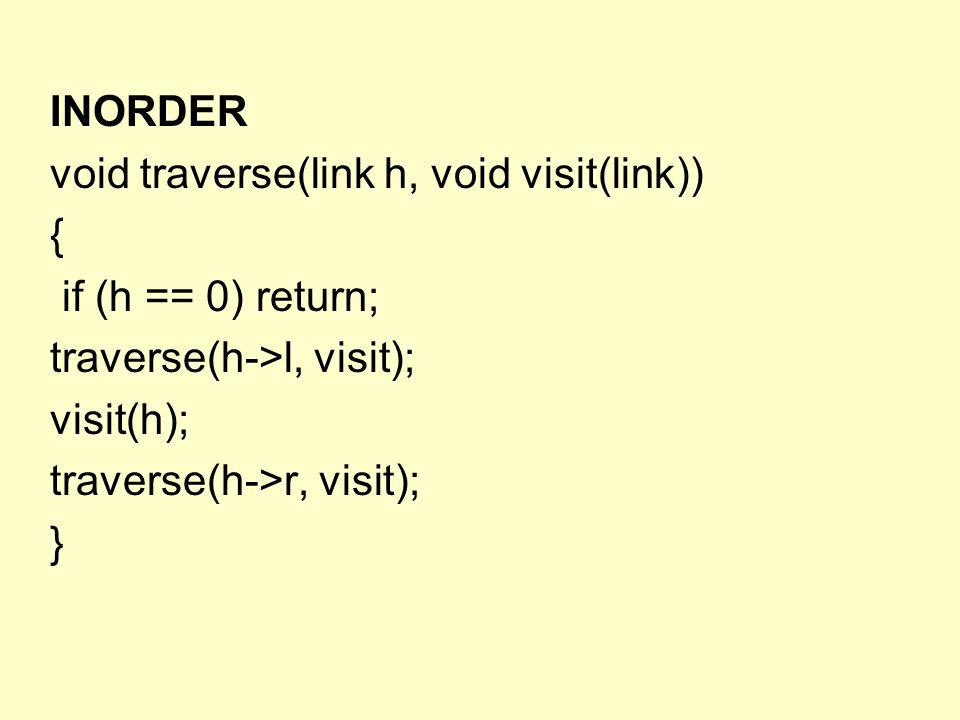 POSTORDER void traverse(link h, void visit(link)) { if (h == 0) return; traverse(h->l, visit); traverse(h->r, visit); visit(h); }