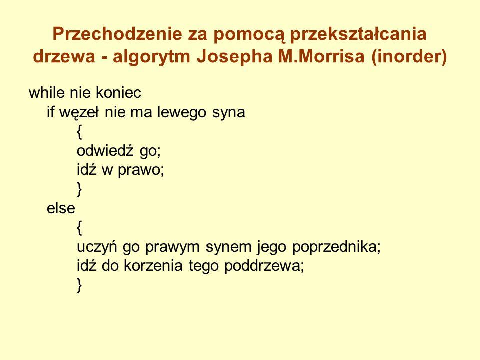Przechodzenie za pomocą przekształcania drzewa - algorytm Josepha M.Morrisa (inorder) while nie koniec if węzeł nie ma lewego syna { odwiedź go; idź w
