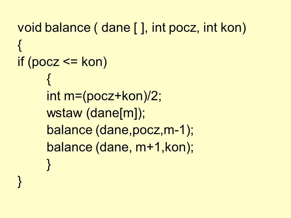 void balance ( dane [ ], int pocz, int kon) { if (pocz <= kon) { int m=(pocz+kon)/2; wstaw (dane[m]); balance (dane,pocz,m-1); balance (dane, m+1,kon)