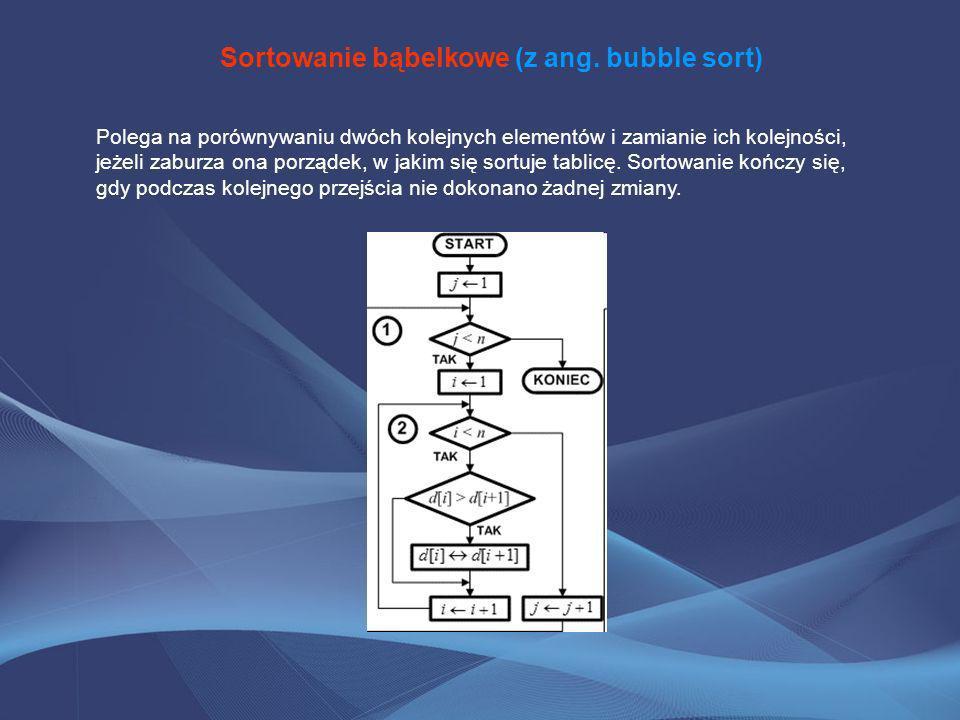 Sortowanie bąbelkowe (z ang. bubble sort) Polega na porównywaniu dwóch kolejnych elementów i zamianie ich kolejności, jeżeli zaburza ona porządek, w j
