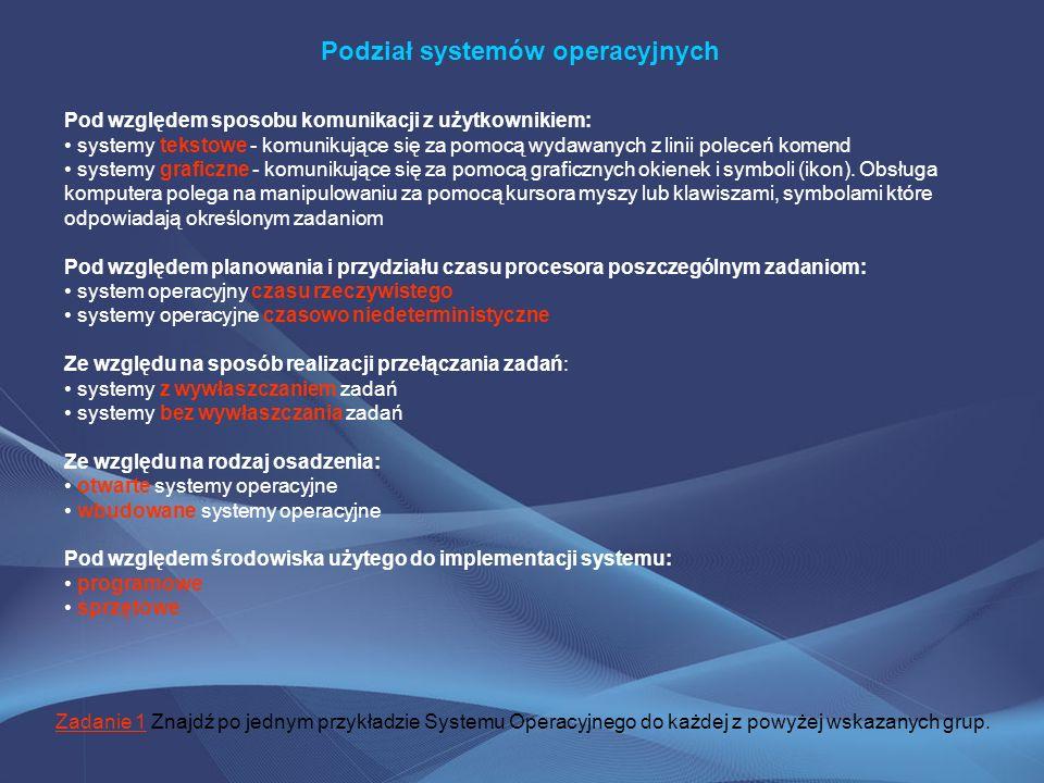 Podział systemów operacyjnych Pod względem sposobu komunikacji z użytkownikiem: systemy tekstowe - komunikujące się za pomocą wydawanych z linii polec