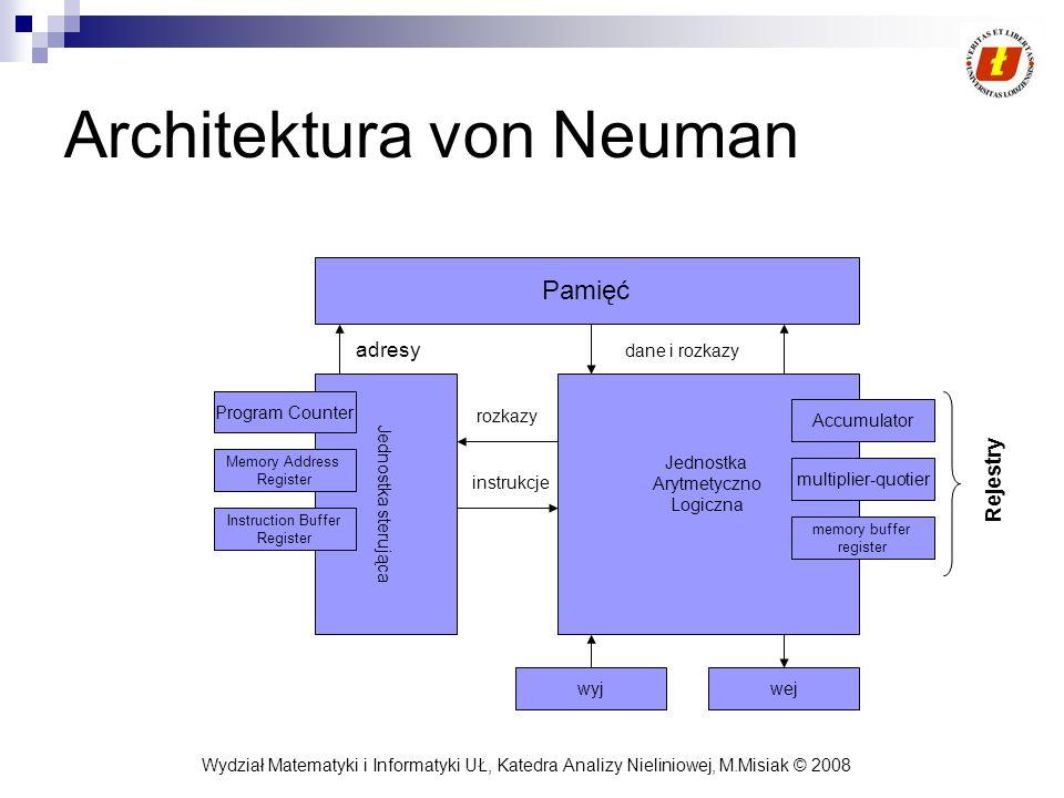Wydział Matematyki i Informatyki UŁ, Katedra Analizy Nieliniowej, M.Misiak © 2008 Architektura von Neuman Pamięć Jednostka sterująca Jednostka Arytmet