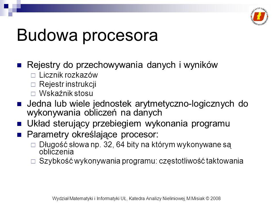 Wydział Matematyki i Informatyki UŁ, Katedra Analizy Nieliniowej, M.Misiak © 2008 Budowa procesora Rejestry do przechowywania danych i wyników Licznik