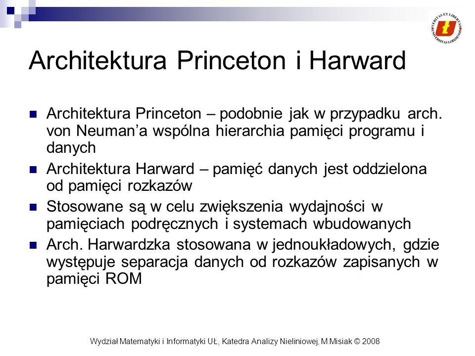 Wydział Matematyki i Informatyki UŁ, Katedra Analizy Nieliniowej, M.Misiak © 2008 Architektura Princeton i Harward Architektura Princeton – podobnie j