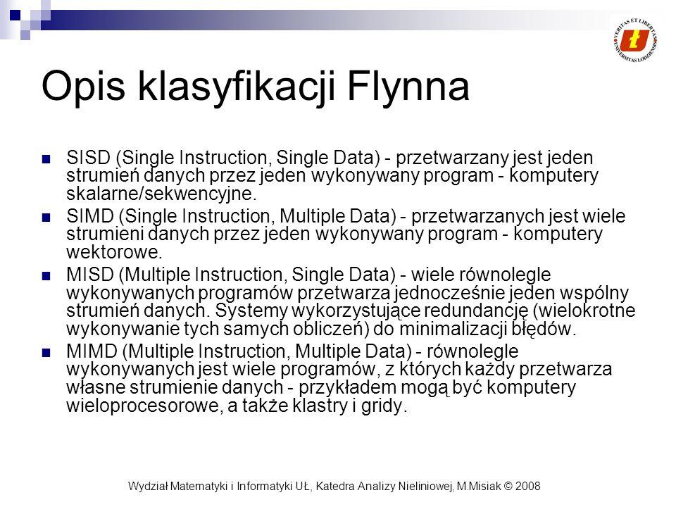 Wydział Matematyki i Informatyki UŁ, Katedra Analizy Nieliniowej, M.Misiak © 2008 Opis klasyfikacji Flynna SISD (Single Instruction, Single Data) - pr