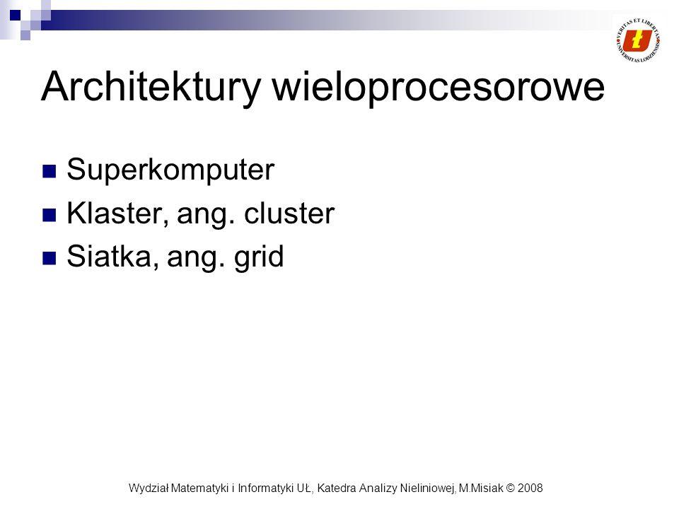 Wydział Matematyki i Informatyki UŁ, Katedra Analizy Nieliniowej, M.Misiak © 2008 Architektury wieloprocesorowe Superkomputer Klaster, ang. cluster Si