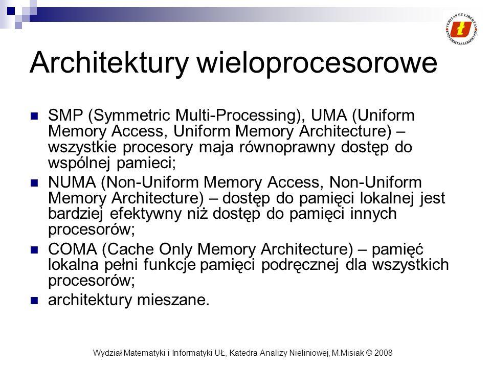 Wydział Matematyki i Informatyki UŁ, Katedra Analizy Nieliniowej, M.Misiak © 2008 Architektury wieloprocesorowe SMP (Symmetric Multi-Processing), UMA