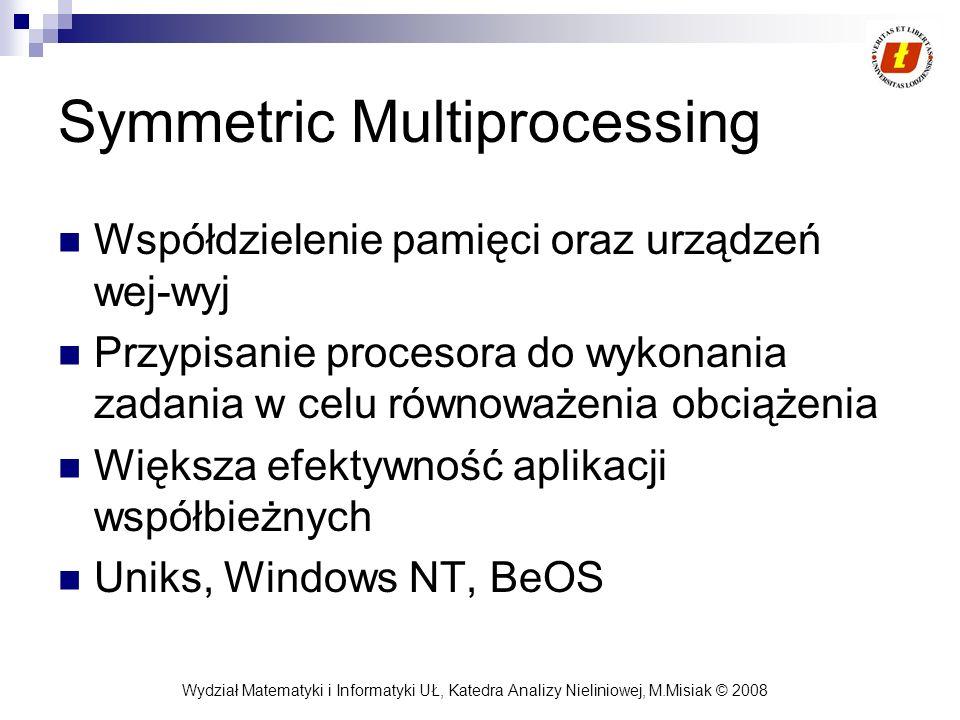 Wydział Matematyki i Informatyki UŁ, Katedra Analizy Nieliniowej, M.Misiak © 2008 Symmetric Multiprocessing Współdzielenie pamięci oraz urządzeń wej-w