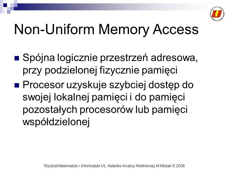 Wydział Matematyki i Informatyki UŁ, Katedra Analizy Nieliniowej, M.Misiak © 2008 Non-Uniform Memory Access Spójna logicznie przestrzeń adresowa, przy