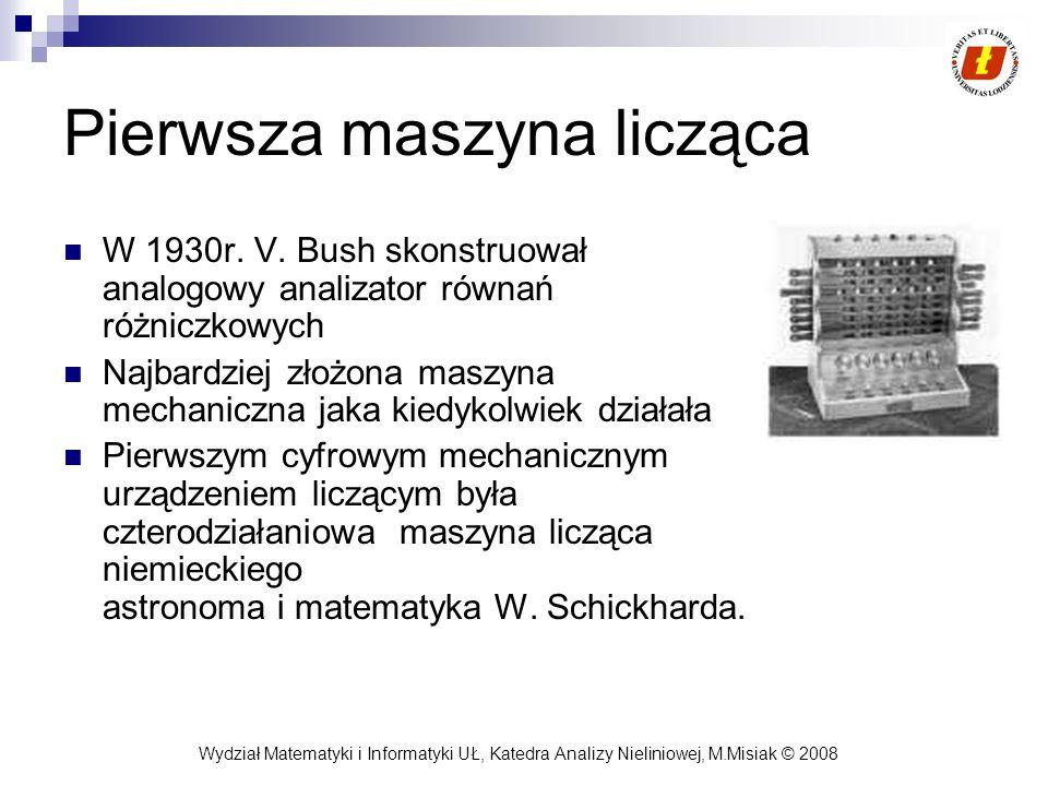 Wydział Matematyki i Informatyki UŁ, Katedra Analizy Nieliniowej, M.Misiak © 2008 Pierwsza maszyna licząca W 1930r. V. Bush skonstruował analogowy ana