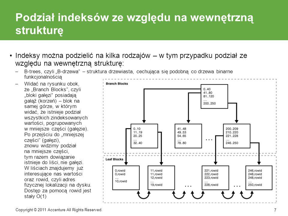 Podział indeksów ze względu na wewnętrzną strukturę –Bitmap indexes, czyli indeksy bitmapowe przechowują mapę bitów dla klucza indeksu.