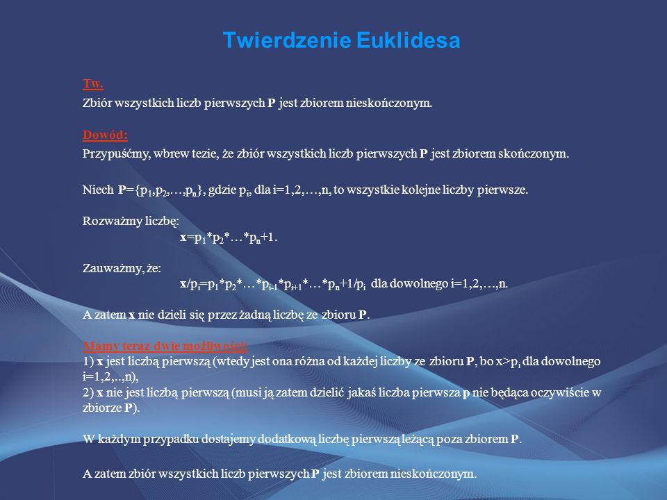 Twierdzenie Euklidesa Tw. Zbiór wszystkich liczb pierwszych P jest zbiorem nieskończonym. Dowód: Przypuśćmy, wbrew tezie, że zbiór wszystkich liczb pi
