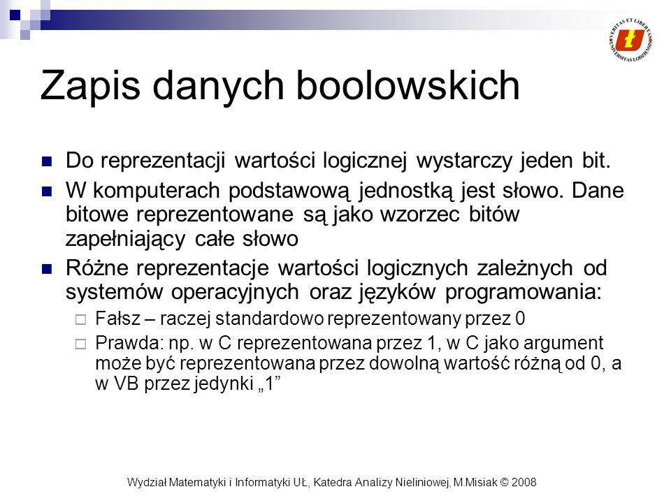 Wydział Matematyki i Informatyki UŁ, Katedra Analizy Nieliniowej, M.Misiak © 2008 Zapis danych boolowskich Do reprezentacji wartości logicznej wystarc