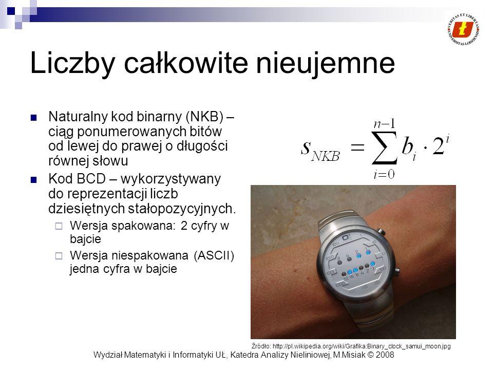 Wydział Matematyki i Informatyki UŁ, Katedra Analizy Nieliniowej, M.Misiak © 2008 Liczby całkowite nieujemne Naturalny kod binarny (NKB) – ciąg ponume
