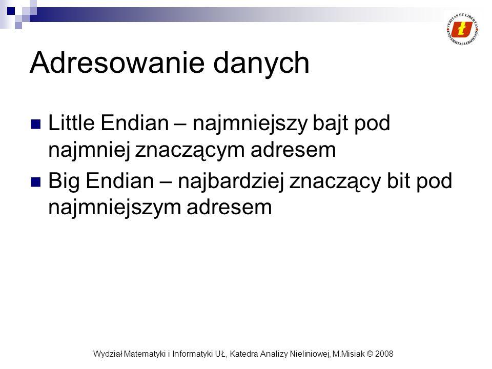 Wydział Matematyki i Informatyki UŁ, Katedra Analizy Nieliniowej, M.Misiak © 2008 Adresowanie danych Little Endian – najmniejszy bajt pod najmniej zna