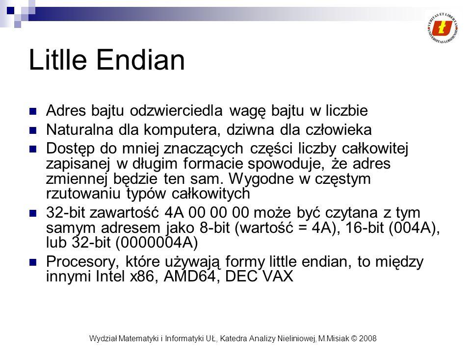 Wydział Matematyki i Informatyki UŁ, Katedra Analizy Nieliniowej, M.Misiak © 2008 Litlle Endian Adres bajtu odzwierciedla wagę bajtu w liczbie Natural