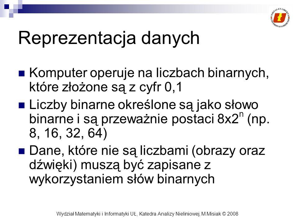 Wydział Matematyki i Informatyki UŁ, Katedra Analizy Nieliniowej, M.Misiak © 2008 Reprezentacja danych Komputer operuje na liczbach binarnych, które z