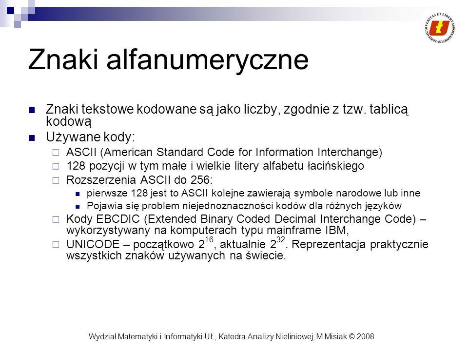 Wydział Matematyki i Informatyki UŁ, Katedra Analizy Nieliniowej, M.Misiak © 2008 Znaki alfanumeryczne Znaki tekstowe kodowane są jako liczby, zgodnie