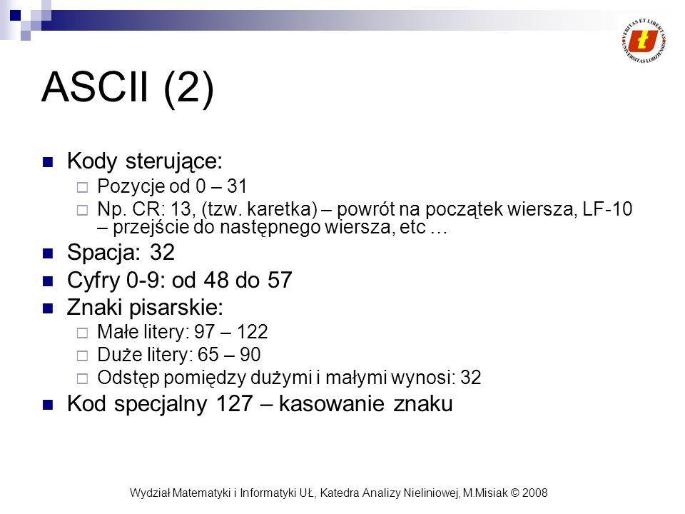 Wydział Matematyki i Informatyki UŁ, Katedra Analizy Nieliniowej, M.Misiak © 2008 ASCII (2) Kody sterujące: Pozycje od 0 – 31 Np. CR: 13, (tzw. karetk