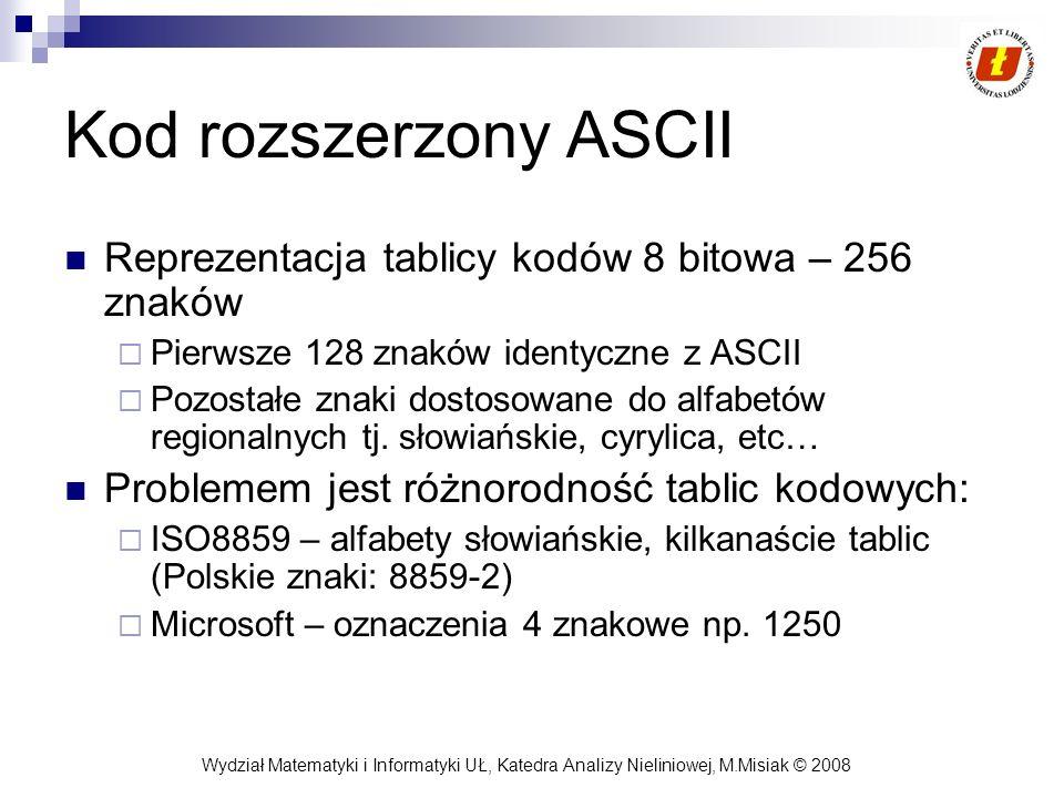 Wydział Matematyki i Informatyki UŁ, Katedra Analizy Nieliniowej, M.Misiak © 2008 Kod rozszerzony ASCII Reprezentacja tablicy kodów 8 bitowa – 256 zna