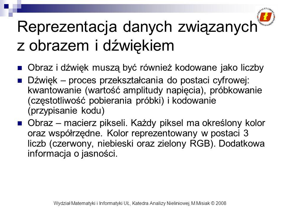 Wydział Matematyki i Informatyki UŁ, Katedra Analizy Nieliniowej, M.Misiak © 2008 Reprezentacja danych związanych z obrazem i dźwiękiem Obraz i dźwięk