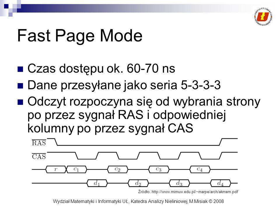 Wydział Matematyki i Informatyki UŁ, Katedra Analizy Nieliniowej, M.Misiak © 2008 Fast Page Mode Czas dostępu ok. 60-70 ns Dane przesyłane jako seria
