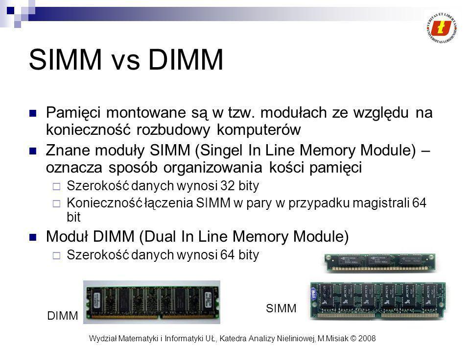Wydział Matematyki i Informatyki UŁ, Katedra Analizy Nieliniowej, M.Misiak © 2008 SIMM vs DIMM Pamięci montowane są w tzw. modułach ze względu na koni