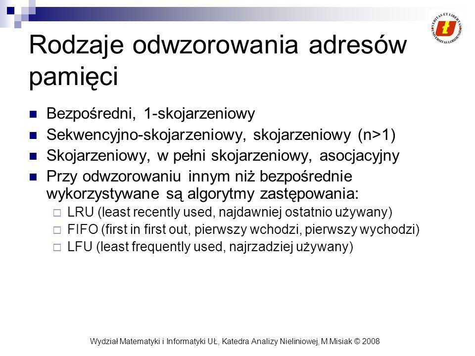 Wydział Matematyki i Informatyki UŁ, Katedra Analizy Nieliniowej, M.Misiak © 2008 Rodzaje odwzorowania adresów pamięci Bezpośredni, 1-skojarzeniowy Se