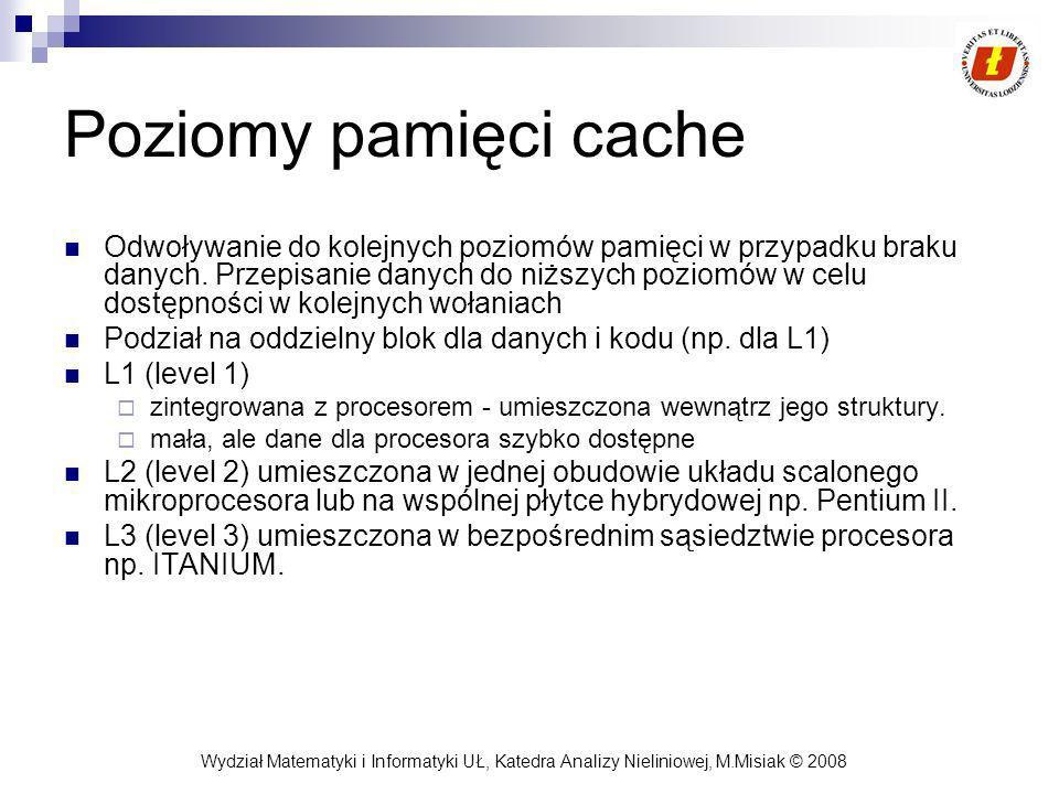 Wydział Matematyki i Informatyki UŁ, Katedra Analizy Nieliniowej, M.Misiak © 2008 Poziomy pamięci cache Odwoływanie do kolejnych poziomów pamięci w pr