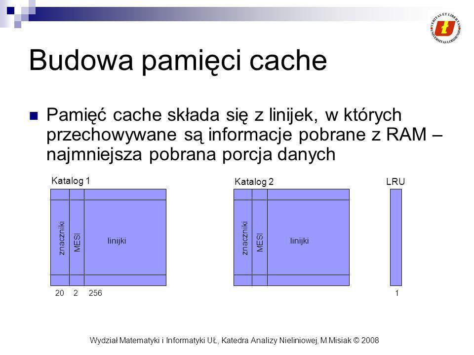 Wydział Matematyki i Informatyki UŁ, Katedra Analizy Nieliniowej, M.Misiak © 2008 Budowa pamięci cache Pamięć cache składa się z linijek, w których pr