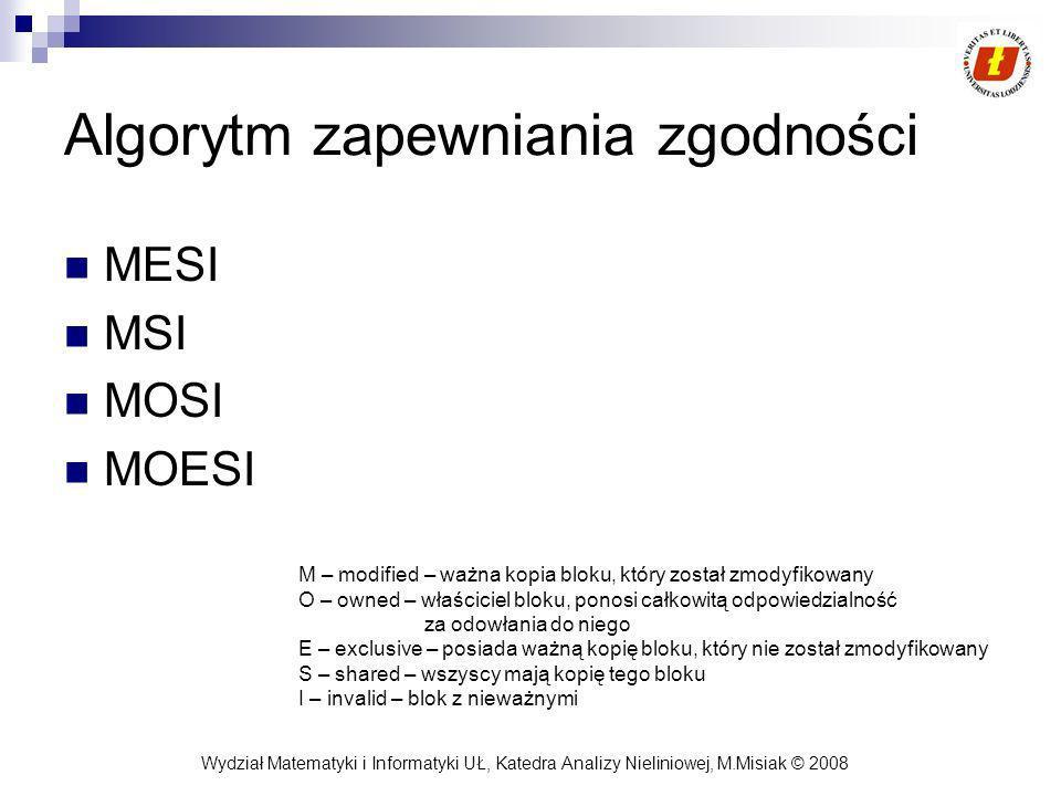 Wydział Matematyki i Informatyki UŁ, Katedra Analizy Nieliniowej, M.Misiak © 2008 Algorytm zapewniania zgodności MESI MSI MOSI MOESI M – modified – wa
