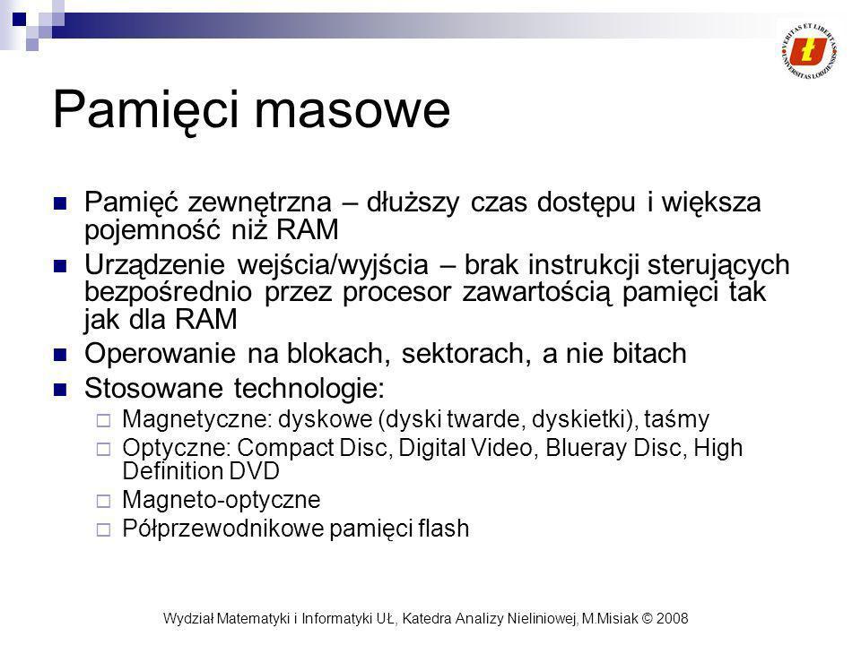 Wydział Matematyki i Informatyki UŁ, Katedra Analizy Nieliniowej, M.Misiak © 2008 Pamięci masowe Pamięć zewnętrzna – dłuższy czas dostępu i większa po