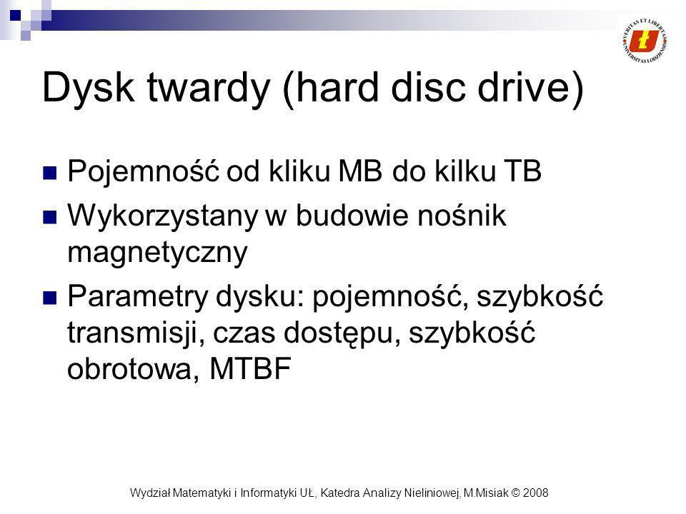 Wydział Matematyki i Informatyki UŁ, Katedra Analizy Nieliniowej, M.Misiak © 2008 Dysk twardy (hard disc drive) Pojemność od kliku MB do kilku TB Wyko