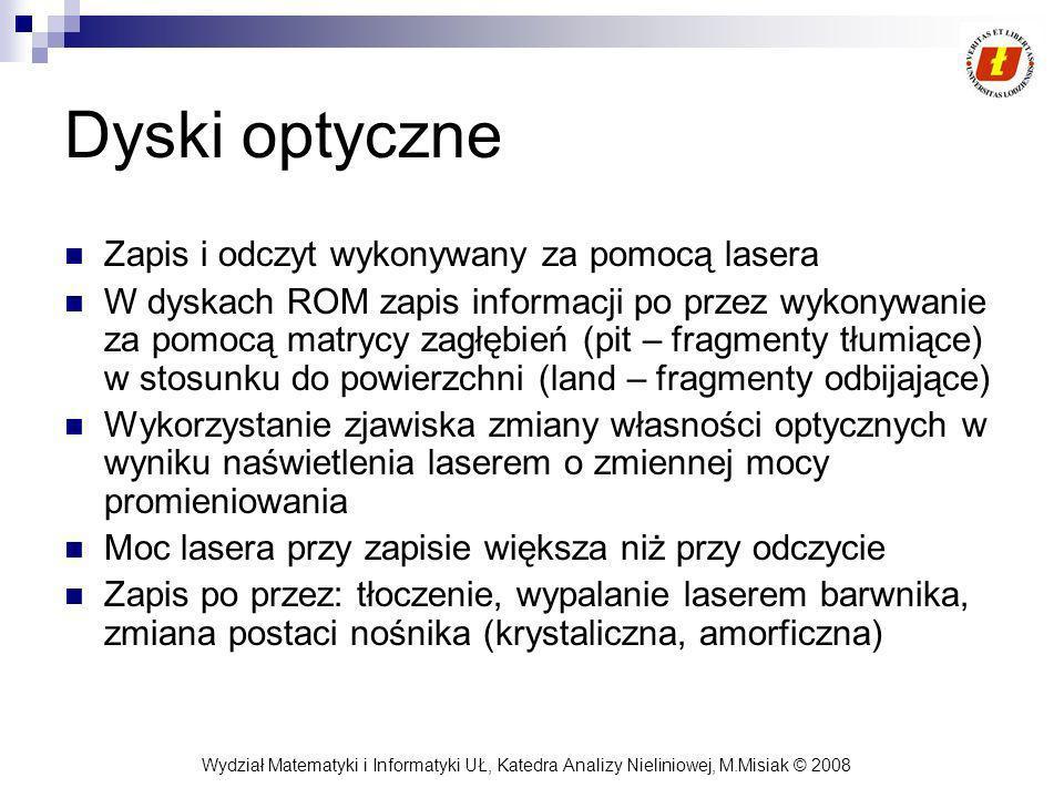 Wydział Matematyki i Informatyki UŁ, Katedra Analizy Nieliniowej, M.Misiak © 2008 Dyski optyczne Zapis i odczyt wykonywany za pomocą lasera W dyskach