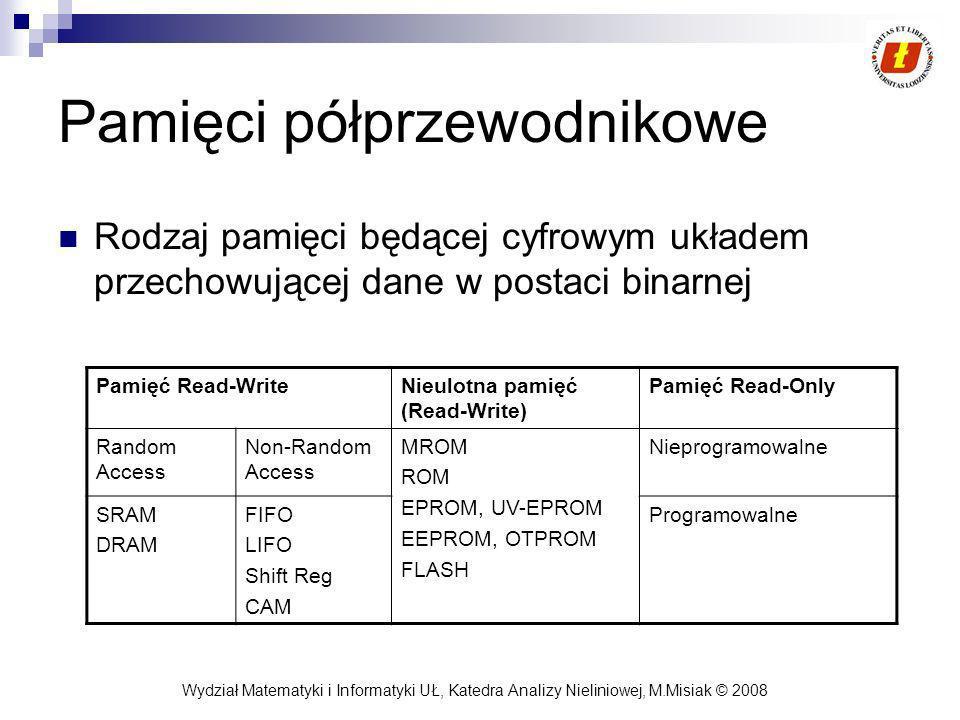 Wydział Matematyki i Informatyki UŁ, Katedra Analizy Nieliniowej, M.Misiak © 2008 Pamięci półprzewodnikowe Rodzaj pamięci będącej cyfrowym układem prz