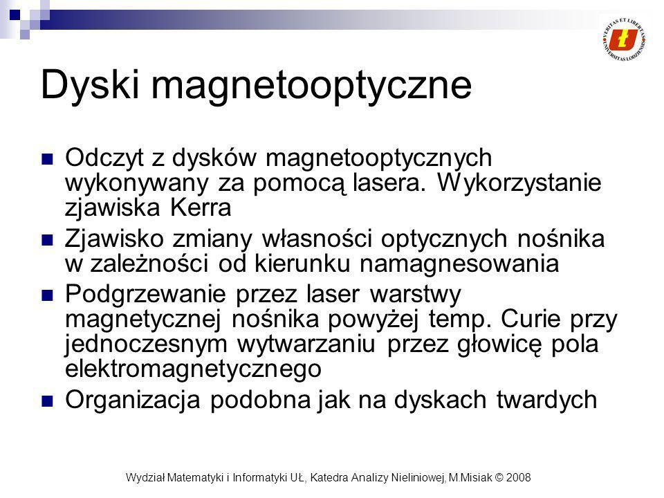 Wydział Matematyki i Informatyki UŁ, Katedra Analizy Nieliniowej, M.Misiak © 2008 Dyski magnetooptyczne Odczyt z dysków magnetooptycznych wykonywany z
