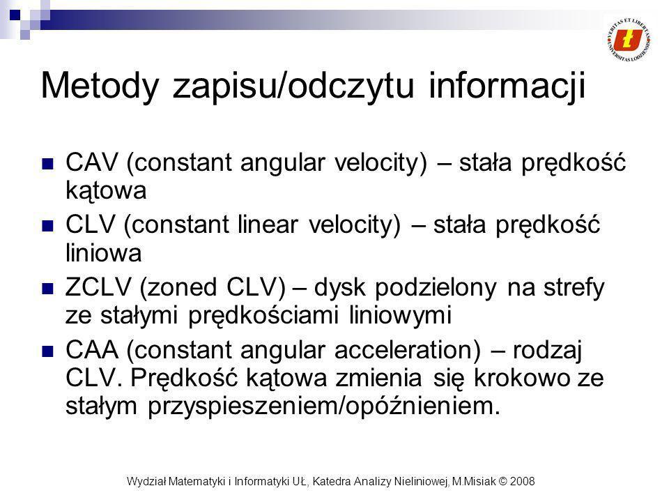 Wydział Matematyki i Informatyki UŁ, Katedra Analizy Nieliniowej, M.Misiak © 2008 Metody zapisu/odczytu informacji CAV (constant angular velocity) – s